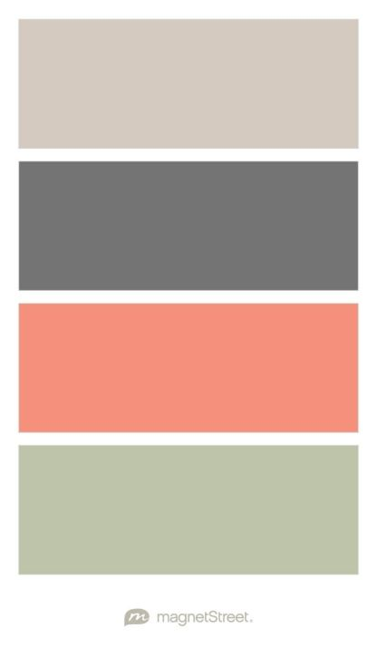 Sugar, Charcoal, Coral, and Sage Wedding Color Palette - custom color palette created at MagnetStreet.com
