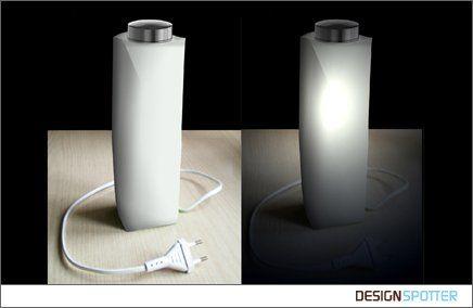 MILKY Table lamp.  Designer: Artur GRAB (Poland)  Colours: White & silver