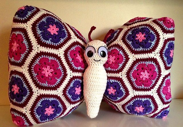 Patrones Crochet: Cojin Mariposa en Crochet Tutorial