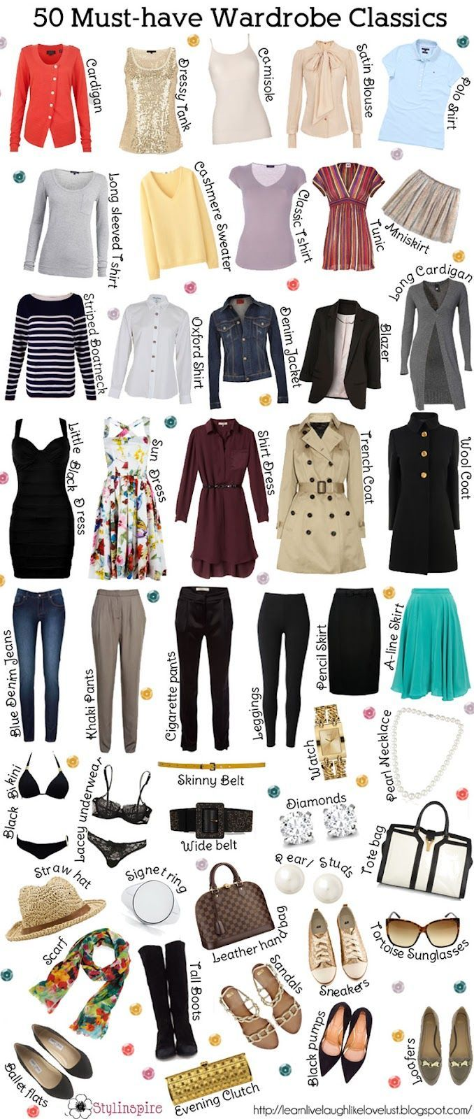 ... Must have clothing items classics for wardrobe..have some .need toprint and make check off list in closet - more → http://sharonfashionwebsites.blogspot.com/2013/04/must-have-clothing-items-classics-for.html