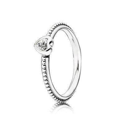 PANDORA | Heart silver ring with cubic zirconia stacking ring