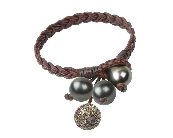 Boho Tassel Bracelet, Pavé and Tahitian