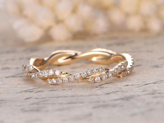 Diamant Ehering volle Ewigkeit Jubiläums-Ring 14K Gelbgold