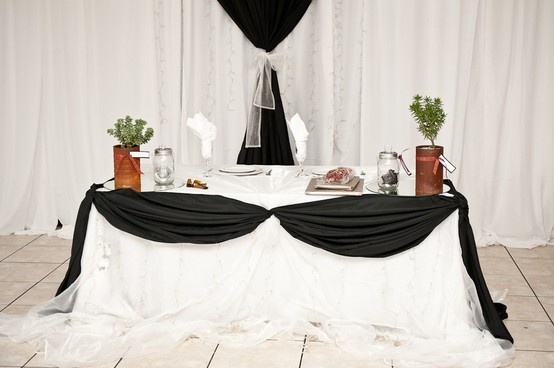 Bride and Groom table, self grown succulents instead of fresh cut flowers, on the inside, Consol Jars with solar light panels with a fabric flower inside, placed on a round sheet of mirror to radiate more light