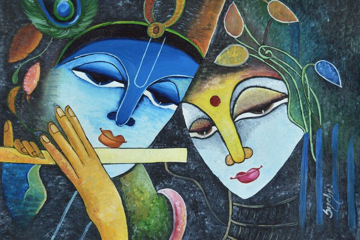 radha krishna with oil color