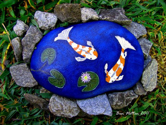 17 best images about painted pebbles rocks on pinterest for Koi fish pond rocks