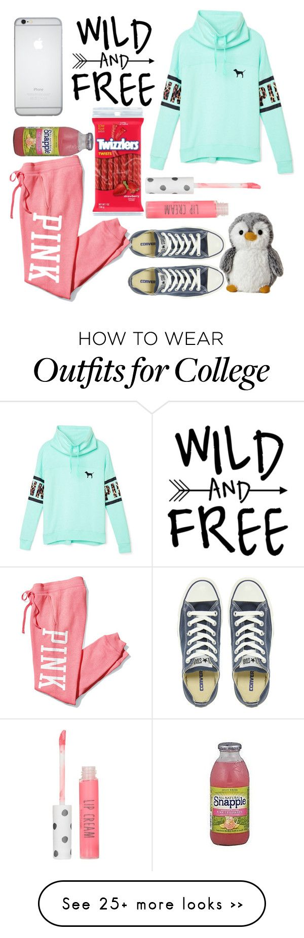 """Lazy PINK Day"" by fashionable-queen on Polyvore featuring Converse, Victoria's Secret PINK, Topshop, FRUIT and StylistFashionableQueen"