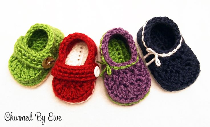 Lil Baby Loafers by Janaya Chouinard - https://web.archive.org/web/20160204014623/charmedbyewe.com/free-lil-baby-loafers-crochet-pattern/