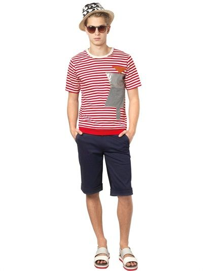 TSUMORI CHISATO - PATCHES ON STRIPED COTTON T-SHIRT - LUISAVIAROMA - LUXURY SHOPPING WORLDWIDE SHIPPING - FLORENCE