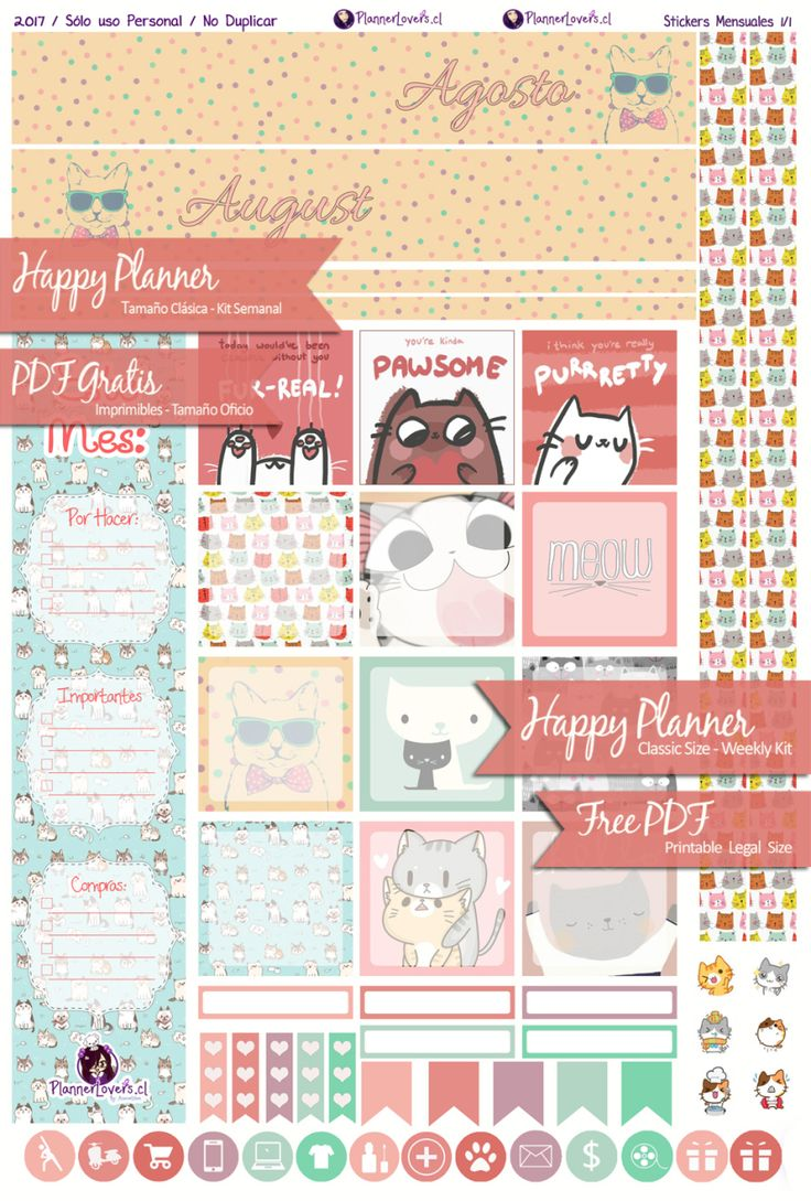 FREE Meawgosto !! - Monthly Printable Stickers Agosto2017
