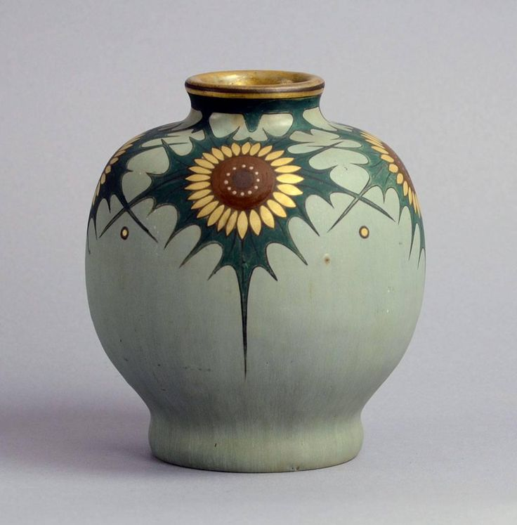 Hand-Painted stoneware vase by Carl Halier, Patrick Nordstrom and Gustav Kohl | From a unique collection of antique and modern vases and vessels at https://www.1stdibs.com/furniture/decorative-objects/vases-vessels/