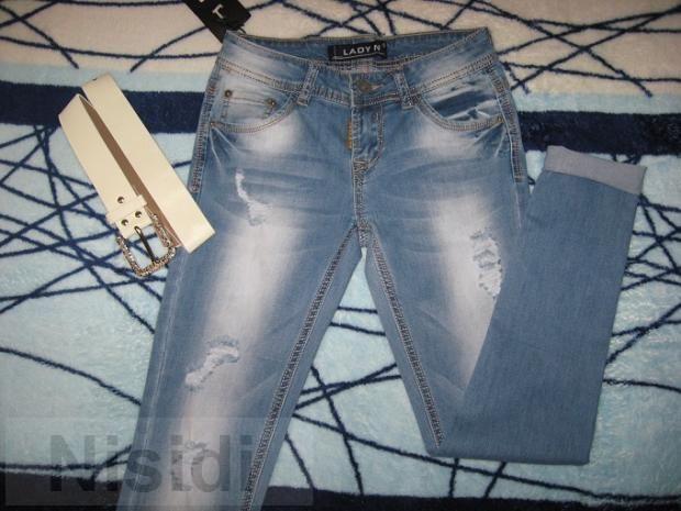 Рваные джинсы узкачи маленьких размеров Lady N W0660 Jeans women dnepr