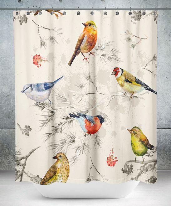 Off White Bird Shower Curtain