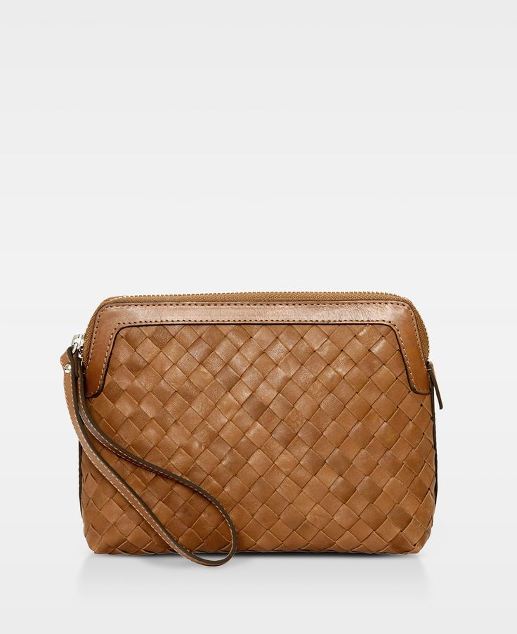 DECADENT Woven make up purse Cognac