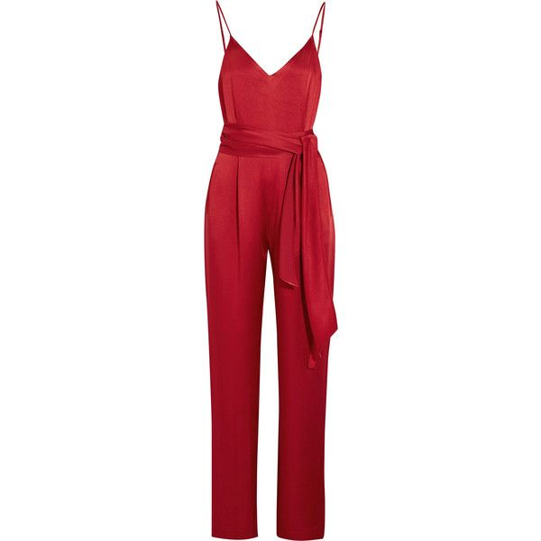Diane von Furstenberg Satin jumpsuit (£260) ❤ liked on Polyvore featuring jumpsuits, jumpsuit, dresses, rompers, pants, playsuits, red, red satin romper, diane von furstenberg romper and pleated jumpsuit