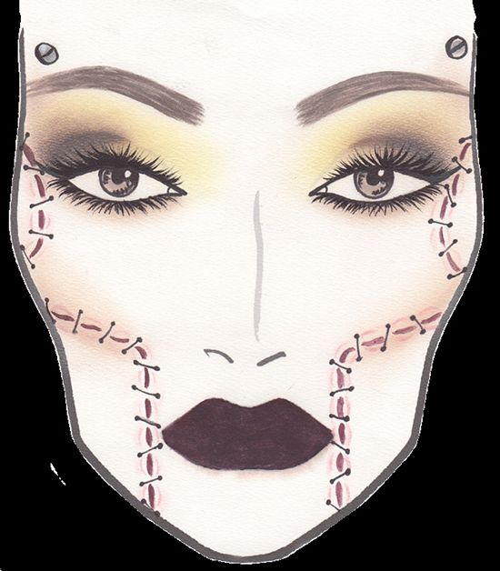 MAC x Rick Baker 'Bride of Frankenstein' Face Chart for Halloween 2013