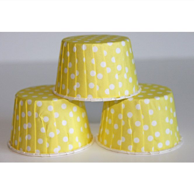 Yellow Polka Dot Baking Cups, Candy Cups, Nut Cups...