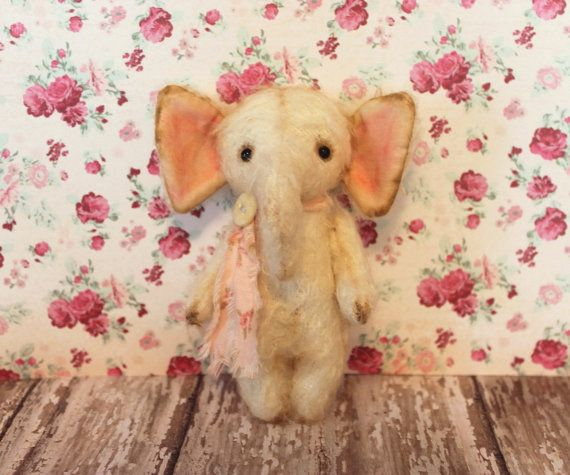 Matilda....Partially Jointed Artist Teddy Bear Elephant Vintage Style Miniature DewDrop Teddy Bears