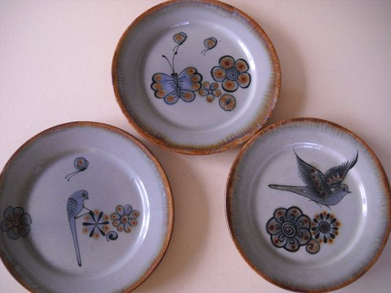 Set of 3 Vintage Ken Edwards Mexican Stoneware by Modernaire : mexican plate set - pezcame.com