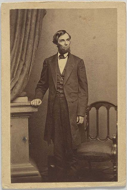 """All quiet along the Potomac""  Mathew Brady's cameraman, Thomas Le Mere, thought that a standing pose of the president would be popular. Lincoln wondered if it could be accomplished in one shot, and this is the successful result. It was taken on April 17, 1863"