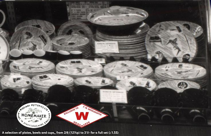 A close-up of Enid Seeney's iconic Homemaker Design black and white crockery on sale in Woolworths at Coventry in 1956