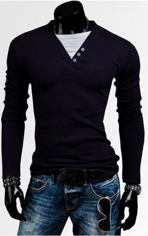 New Fashion Summer Mens Long Sleeve V-neck Solid Stylish T-shirt