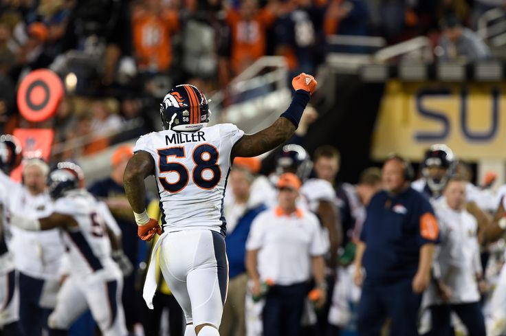 . Von Miller (58) of the Denver Broncos runs back to the sidelines after a sack in the fourth quarter. The Denver Broncos played the Carolina Panthers in Super Bowl 50 at Levi's Stadium in Santa Clara, Calif. on February 7, 2016. (Photo by Joe Amon/The Denver Post)