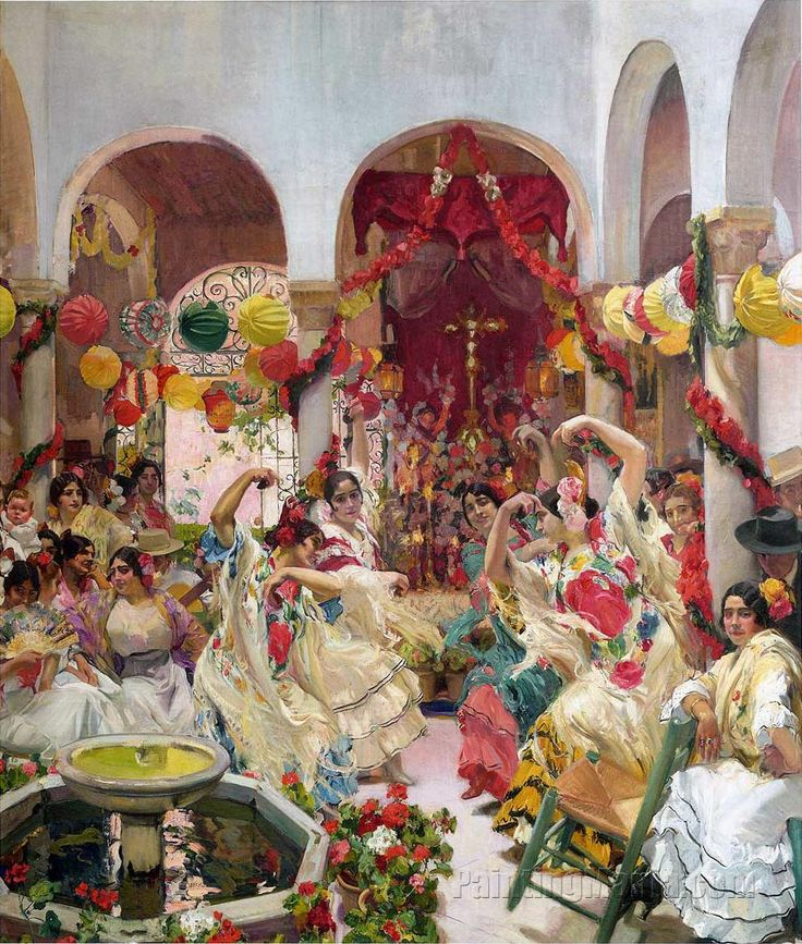 The Dance, 1915 by Joaquín Sorolla (1863 – 1923) Valencian Spanish artist known for the painting of portraits, landscapes, and monumental works of social and historical themes.