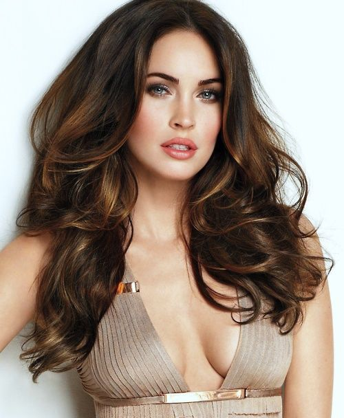 chocolate brown hair and honey highlights megan fox