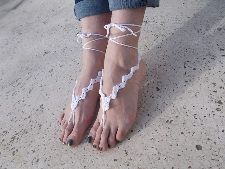 Bridal Barefoot Sandals, White barefoot sandals,Lace shoes, Beach wedding barefoot sandals,anklet, Foot jewelry by greekfractals on Etsy