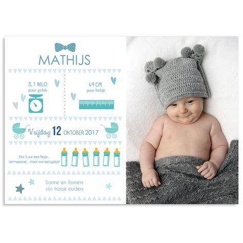 Geboortekaartje jongen - teken van geluk 40628