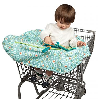 Shopping Cart cover. Great idea for keeping kids form touching grimy carts and keeps them entertained with toys at the same time