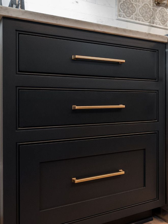 Brass Pull On Black Cabinets Benjamin Moore Soot Cabinet Cabinet Benjaminmooresoot Black Cabinet Hardware Black Cabinets Black Kitchen Cabinets