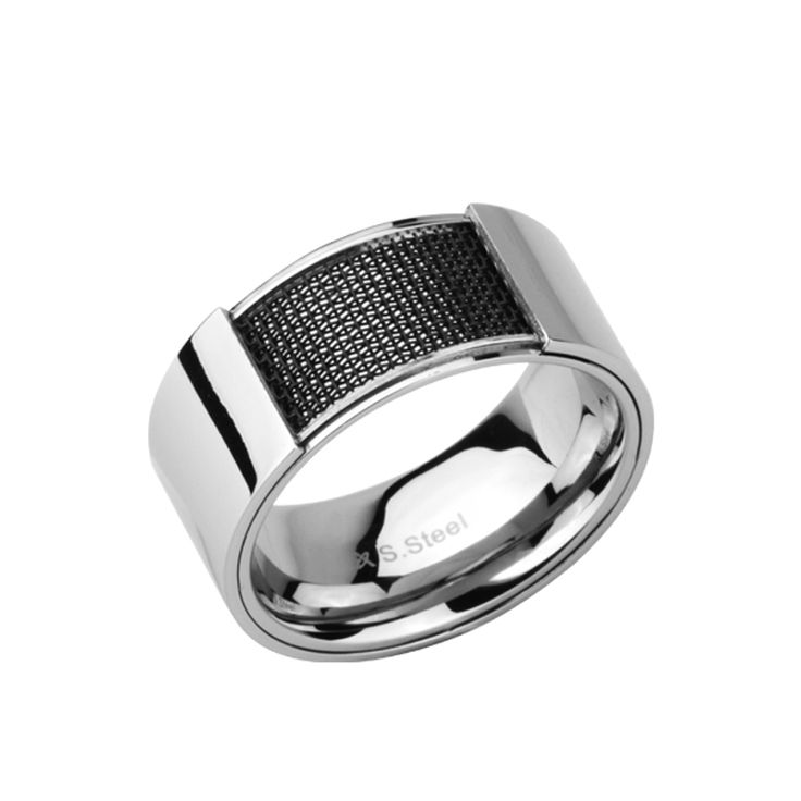 Men's Polished Stainless Steel 10mm Band with Black Mesh Inlay. http://lily316.com.au/shop/collection/polished-stainless-steel-ring-with-black-mesh/