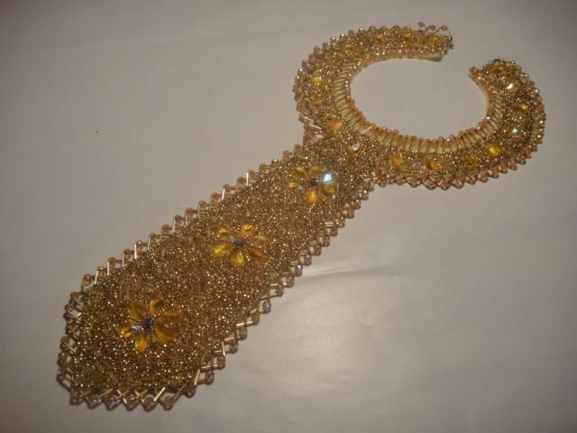large glass BEADED COLLAR RETRO VINTAGE glass bead necklace lined 50cmx10cm handmade gold Expires on ebay Australia 22nd July 2015