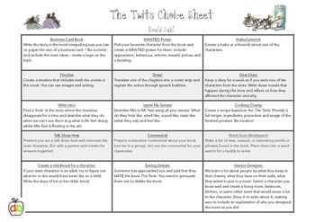This choice sheet includes 15 different activities for students to complete after reading Roald Dahl's, 'The Twits'. The activities cater for a range of learning styles and are engaging, fun and meaningful. Students will really enjoy completing each and everyone of these activities.