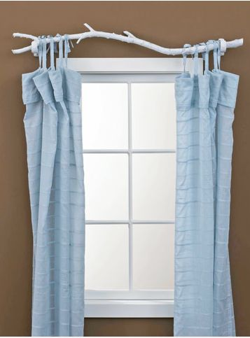 maybe not white but, for my son's camping themed bedroom a wood curtain rod would be awesome!