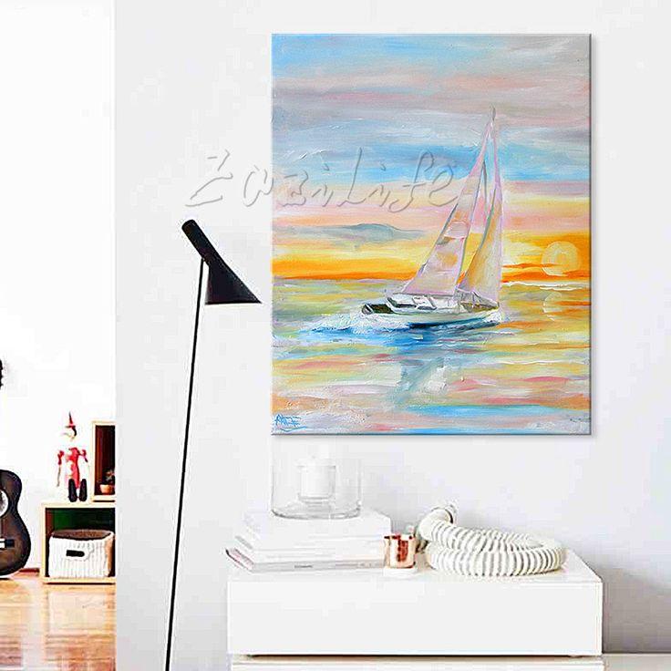 Aliexpress.com: Compre Pintados à mão pintura a óleo abstrata navio barco à vela pinturas a óleo da lona arte Da Parede Pictures para sala de estar moderna papel de parede 14 de confiança art pictures fornecedores em ArtupPainting