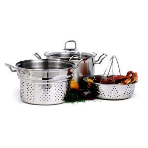 KRONA 4 Piece S/S 8QT STEAMER/COOKER Set https://www.coast2coastkitchen.com/store/cooking/krona-4-piece-ss-8qt-steamercooker-set-