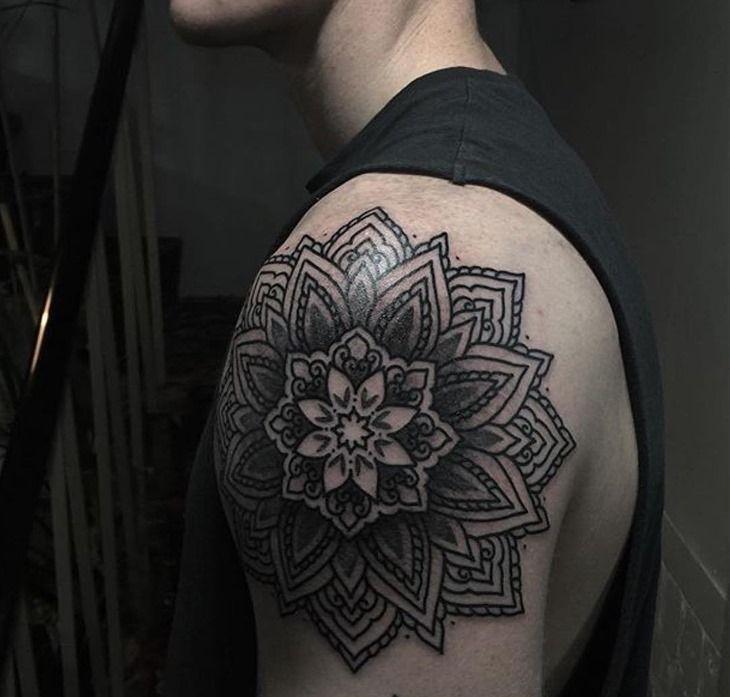 Shoulder Amazing Mandala Tattoo for Men