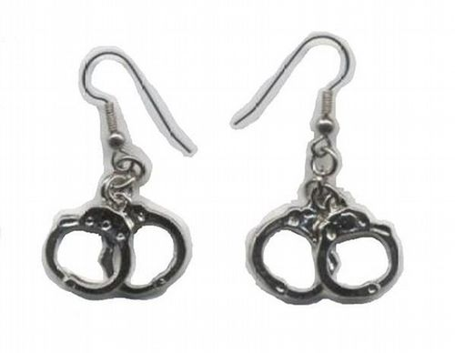 #Handcuff Earrings $24.95 Gold Plated or Silver Plated Handcuff Earrings. Make a statement. These are bound to draw some attention! www.intimatewhispers.com.au #jewellery #adult