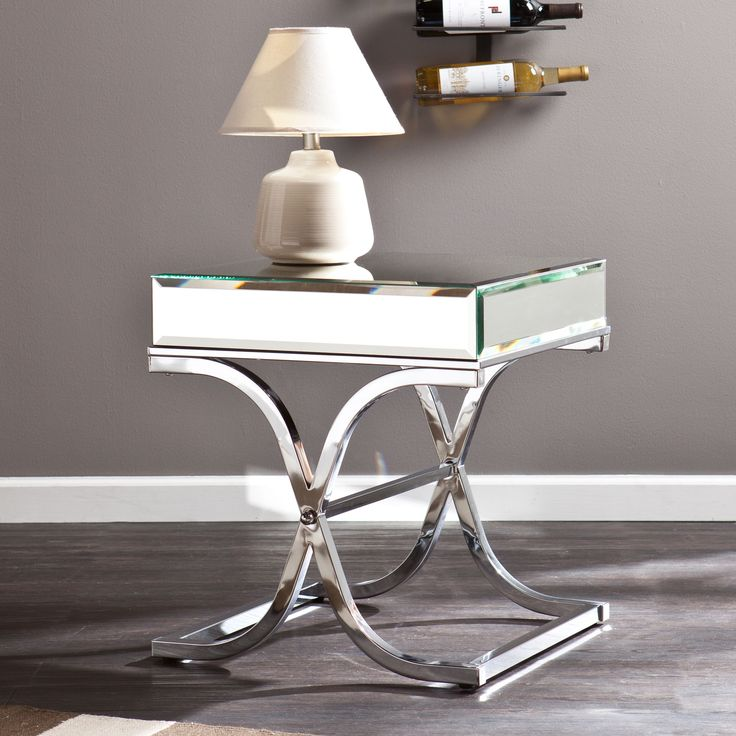 67 best images about modern accent tables on pinterest chrome finish sofa end tables and - Mirrored console table overstock ...