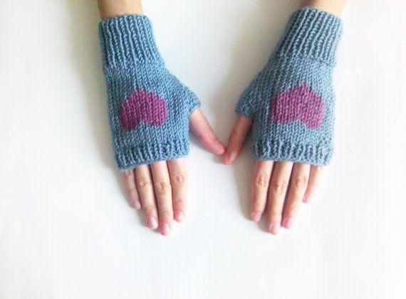 Knit Fingerless Gloves in Denim Blue Dark Lilac Embroidered