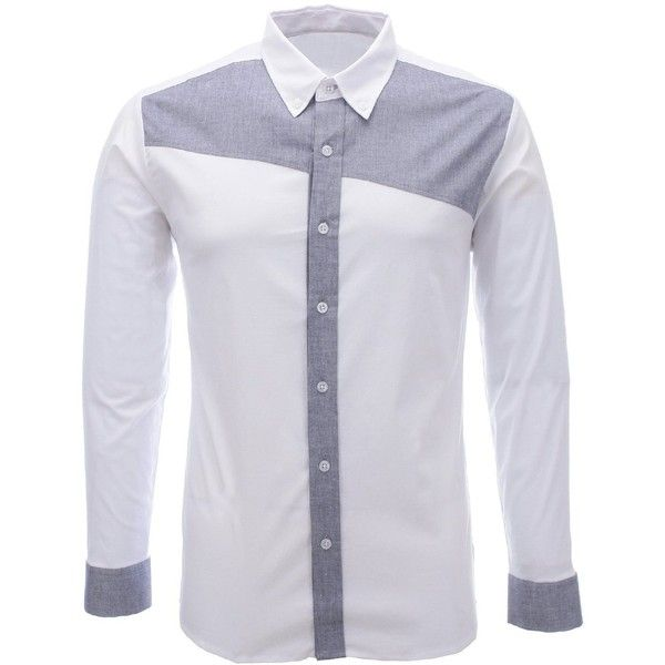 FLATSEVEN Mens Designer Slim Fit Casual Long Sleeve Shirts found on Polyvore