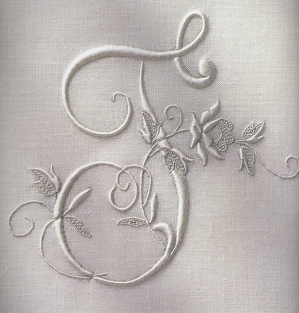 ❥ Embroidered initial by Townmouse, via Flickr