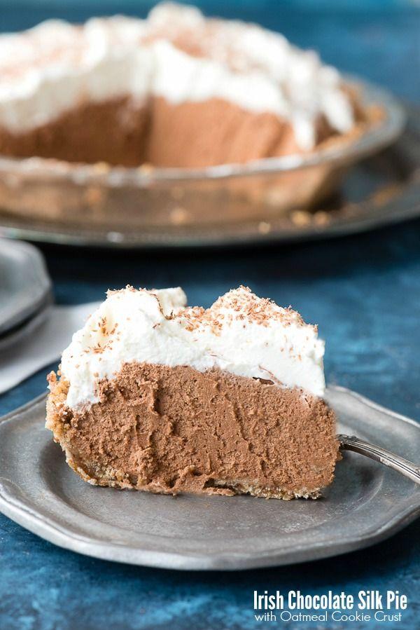 Irish Chocolate Silk Pie with Oatmeal Cookie Crust. Rich creamy chocoale and Irish Cream filling in a homey, rustic oatmeal cookie crust! Gluten-free - BoulderLocavore.com #sponsored