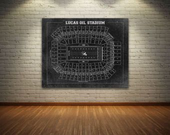 Print of Vintage Lucas Oil Stadium Seating Chart Seating Chart on Photo Paper, Matte paper or Canvas