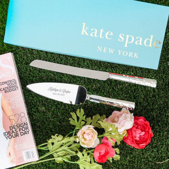 Lenox Kate Spade Gardner Street Cake Knife and Server Set - Custom Engraved Wedding Cake Server and Knife SET - Personalized Wedding Gift by Let's Tie The Knot on Etsy