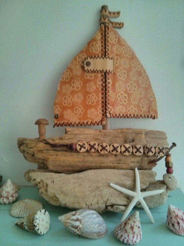 Driftwood boat by Philippa Komercharo.