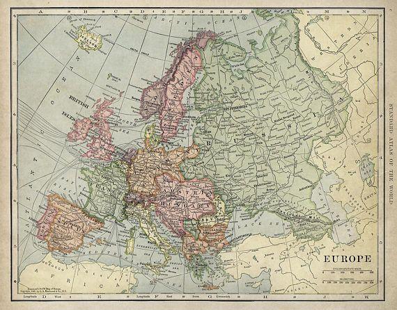 Mapa Antiguo De Europa Hasta 43 X 55 Decoracion Antigua Estilo